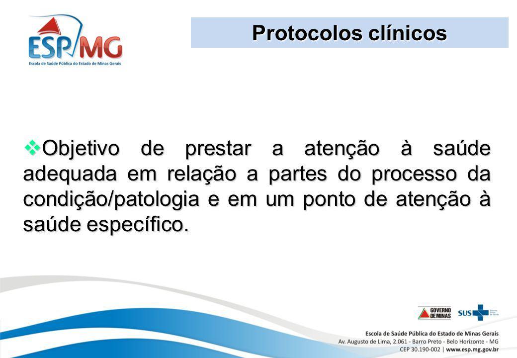 Protocolos clínicos Objetivo de prestar a atenção à saúde adequada em relação a partes do processo da condição/patologia e em um ponto de atenção à sa