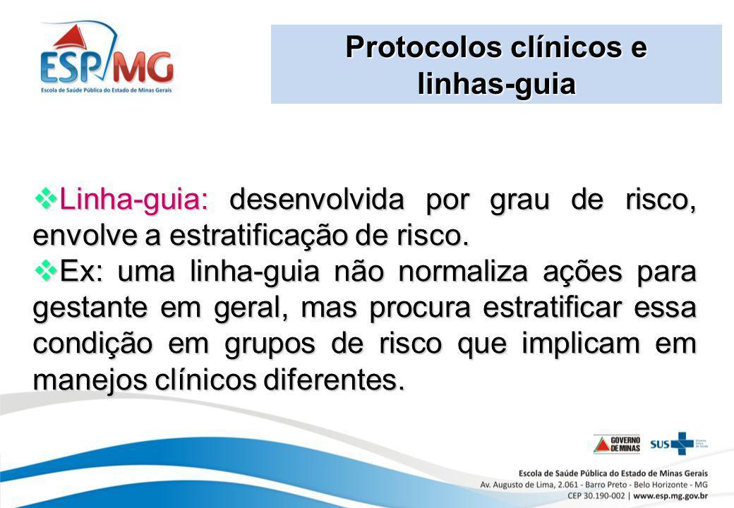 Protocolos clínicos e linhas-guia Linha-guia: desenvolvida por grau de risco, envolve a estratificação de risco. Linha-guia: desenvolvida por grau de