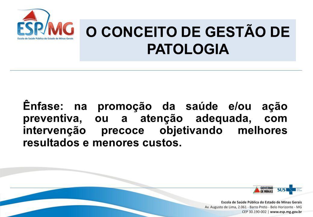 O CONCEITO DE GESTÃO DE PATOLOGIA Ênfase: na promoção da saúde e/ou ação preventiva, ou a atenção adequada, com intervenção precoce objetivando melhor