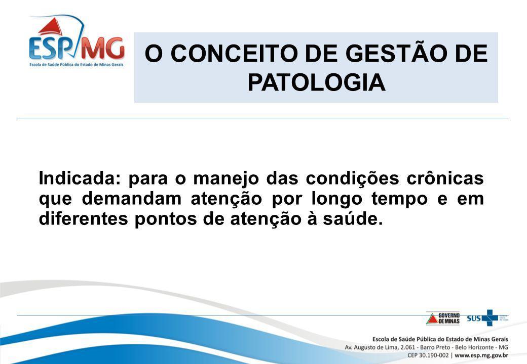 O CONCEITO DE GESTÃO DE PATOLOGIA Indicada: para o manejo das condições crônicas que demandam atenção por longo tempo e em diferentes pontos de atençã