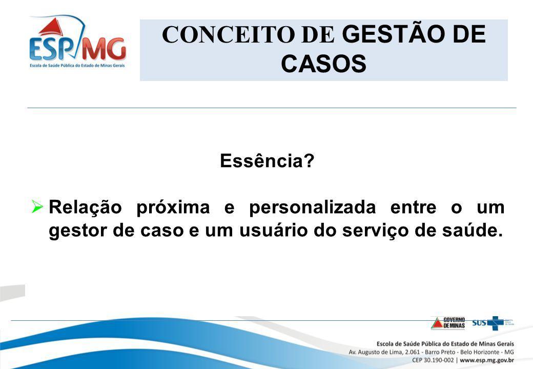 CONCEITO DE GESTÃO DE CASOS Essência? Relação próxima e personalizada entre o um gestor de caso e um usuário do serviço de saúde.