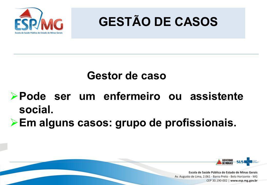 GESTÃO DE CASOS Gestor de caso Pode ser um enfermeiro ou assistente social. Em alguns casos: grupo de profissionais.