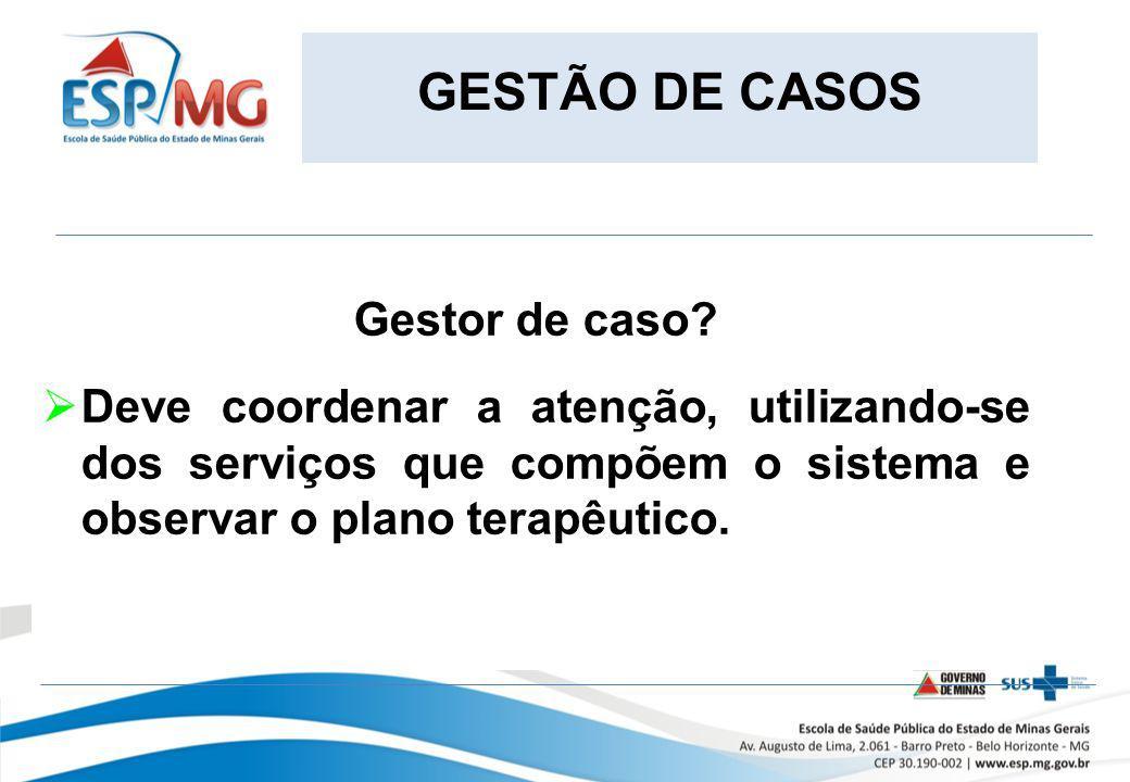 GESTÃO DE CASOS Gestor de caso? Deve coordenar a atenção, utilizando-se dos serviços que compõem o sistema e observar o plano terapêutico.