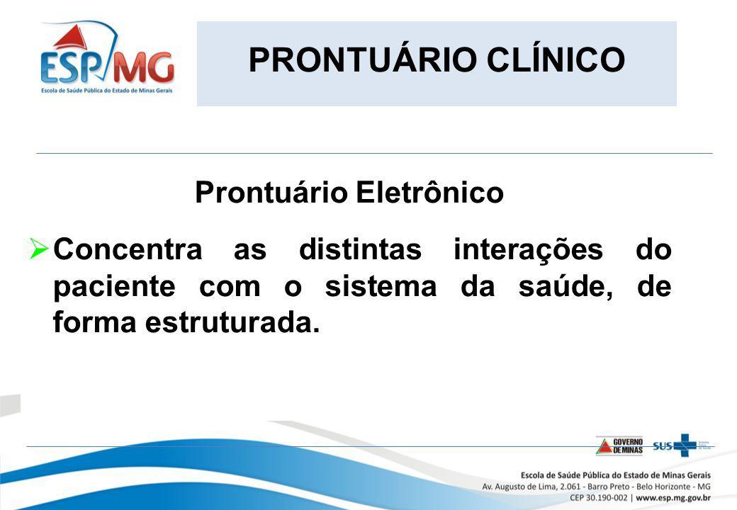 PRONTUÁRIO CLÍNICO Prontuário Eletrônico Concentra as distintas interações do paciente com o sistema da saúde, de forma estruturada.