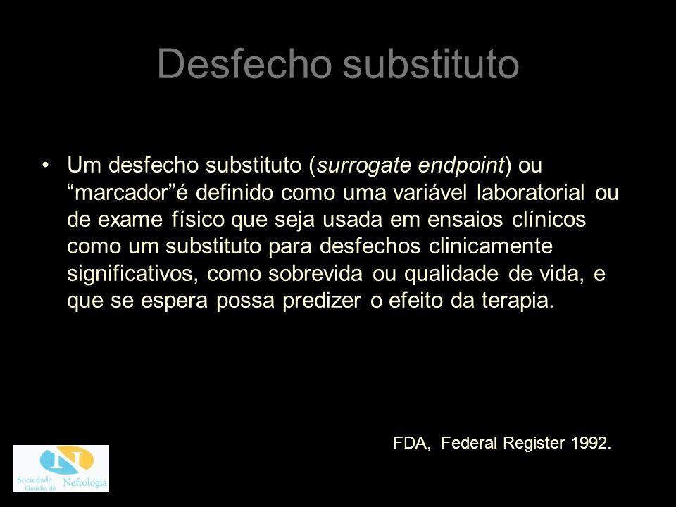 Desfecho substituto Um desfecho substituto (surrogate endpoint) ou marcadoré definido como uma variável laboratorial ou de exame físico que seja usada