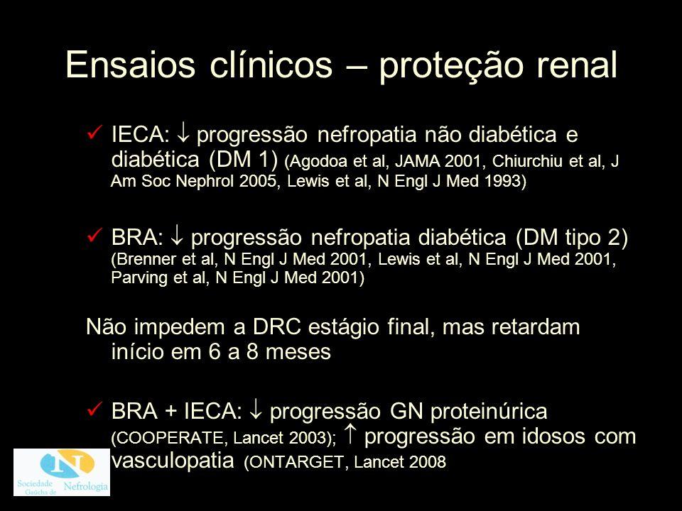 Ensaios clínicos – proteção renal IECA: progressão nefropatia não diabética e diabética (DM 1) (Agodoa et al, JAMA 2001, Chiurchiu et al, J Am Soc Nep