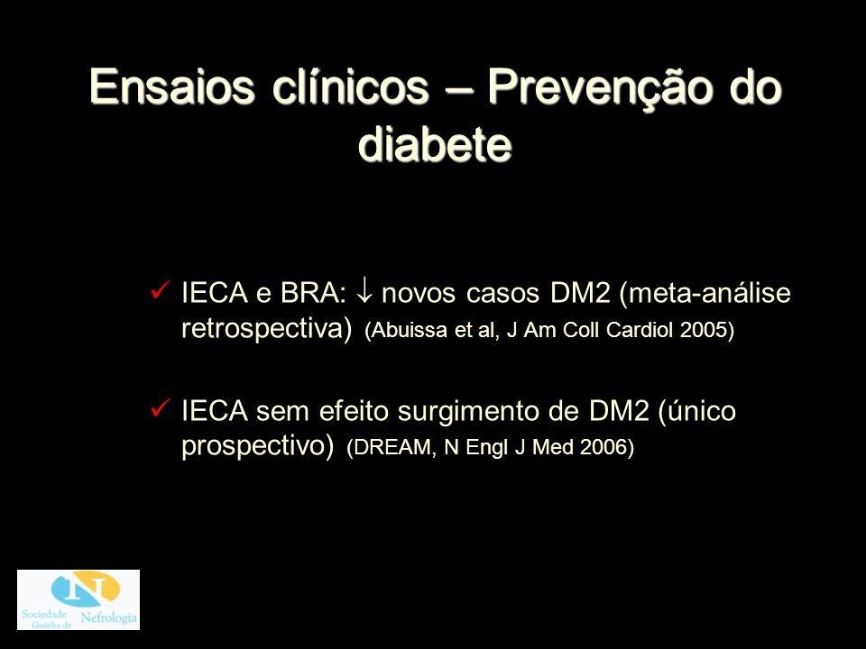 Ensaios clínicos – Prevenção do diabete IECA e BRA: novos casos DM2 (meta-análise retrospectiva) (Abuissa et al, J Am Coll Cardiol 2005) IECA sem efei
