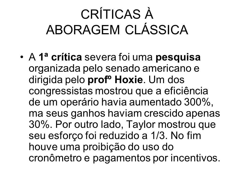 CRÍTICAS À ABORAGEM CLÁSSICA A 1ª crítica severa foi uma pesquisa organizada pelo senado americano e dirigida pelo profº Hoxie.