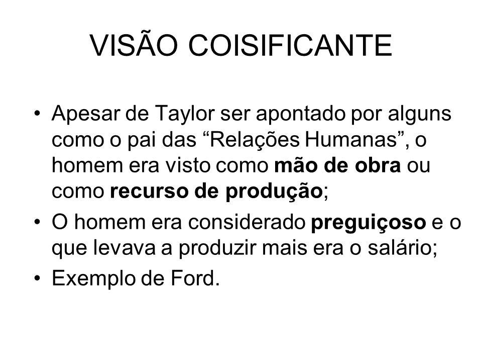 VISÃO COISIFICANTE Apesar de Taylor ser apontado por alguns como o pai das Relações Humanas, o homem era visto como mão de obra ou como recurso de produção; O homem era considerado preguiçoso e o que levava a produzir mais era o salário; Exemplo de Ford.