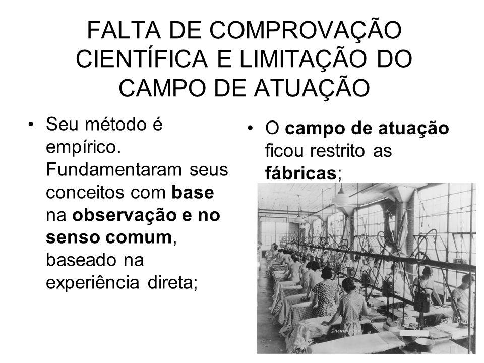 FALTA DE COMPROVAÇÃO CIENTÍFICA E LIMITAÇÃO DO CAMPO DE ATUAÇÃO Seu método é empírico.