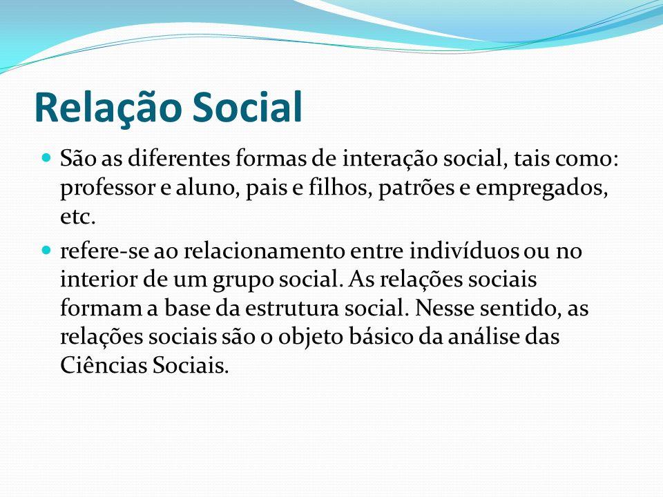 Relação Social São as diferentes formas de interação social, tais como: professor e aluno, pais e filhos, patrões e empregados, etc. refere-se ao rela