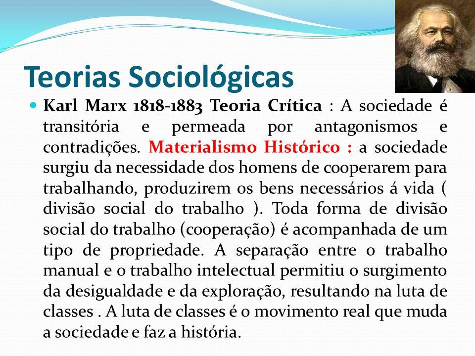 Teorias Sociológicas Karl Marx 1818-1883 Teoria Crítica : A sociedade é transitória e permeada por antagonismos e contradições. Materialismo Histórico