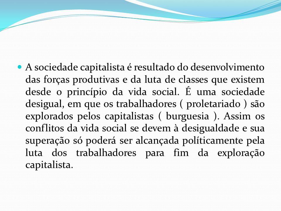 A sociedade capitalista é resultado do desenvolvimento das forças produtivas e da luta de classes que existem desde o princípio da vida social. É uma