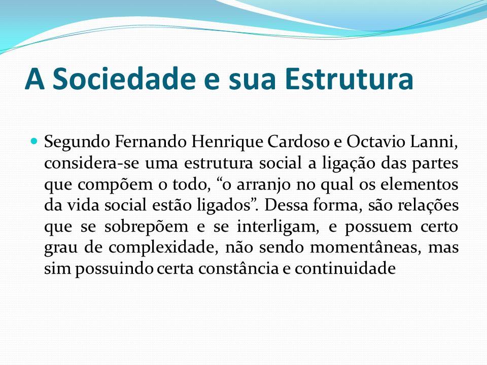 A Sociedade e sua Estrutura Segundo Fernando Henrique Cardoso e Octavio Lanni, considera-se uma estrutura social a ligação das partes que compõem o to