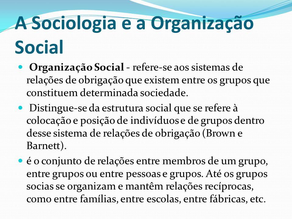 A Sociologia e a Organização Social Organização Social - refere-se aos sistemas de relações de obrigação que existem entre os grupos que constituem de