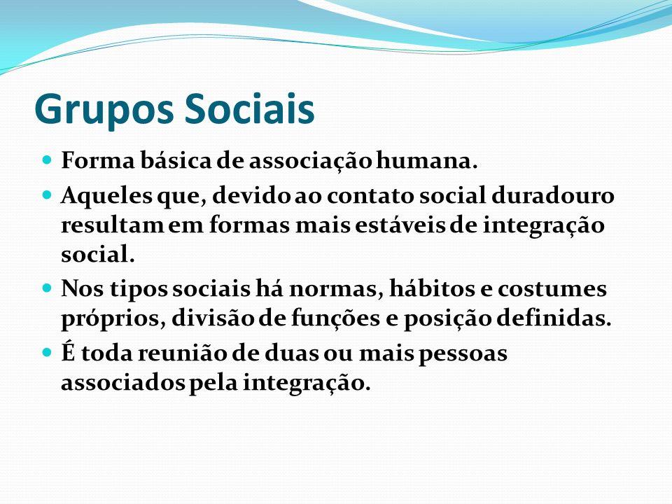 Grupos Sociais Forma básica de associação humana. Aqueles que, devido ao contato social duradouro resultam em formas mais estáveis de integração socia