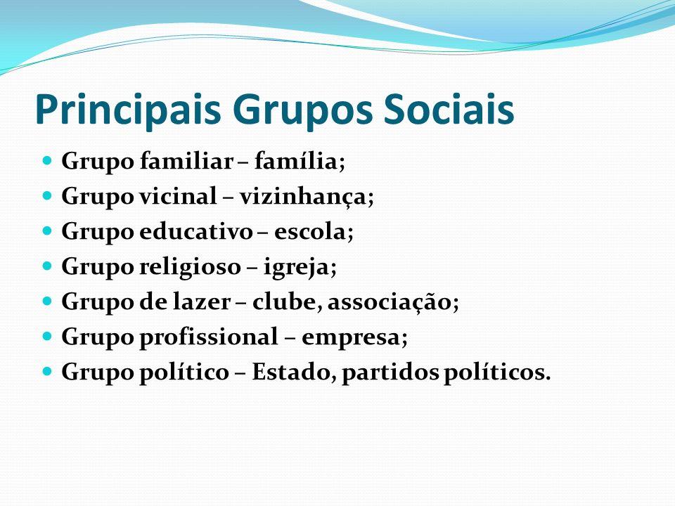 Principais Grupos Sociais Grupo familiar – família; Grupo vicinal – vizinhança; Grupo educativo – escola; Grupo religioso – igreja; Grupo de lazer – c
