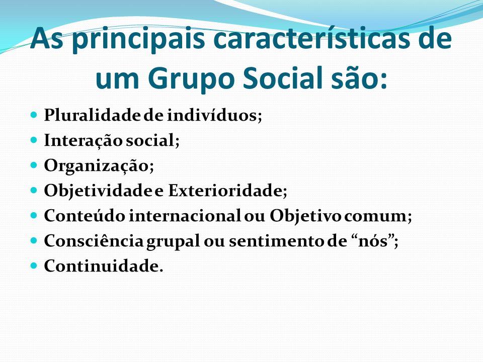 As principais características de um Grupo Social são: Pluralidade de indivíduos; Interação social; Organização; Objetividade e Exterioridade; Conteúdo