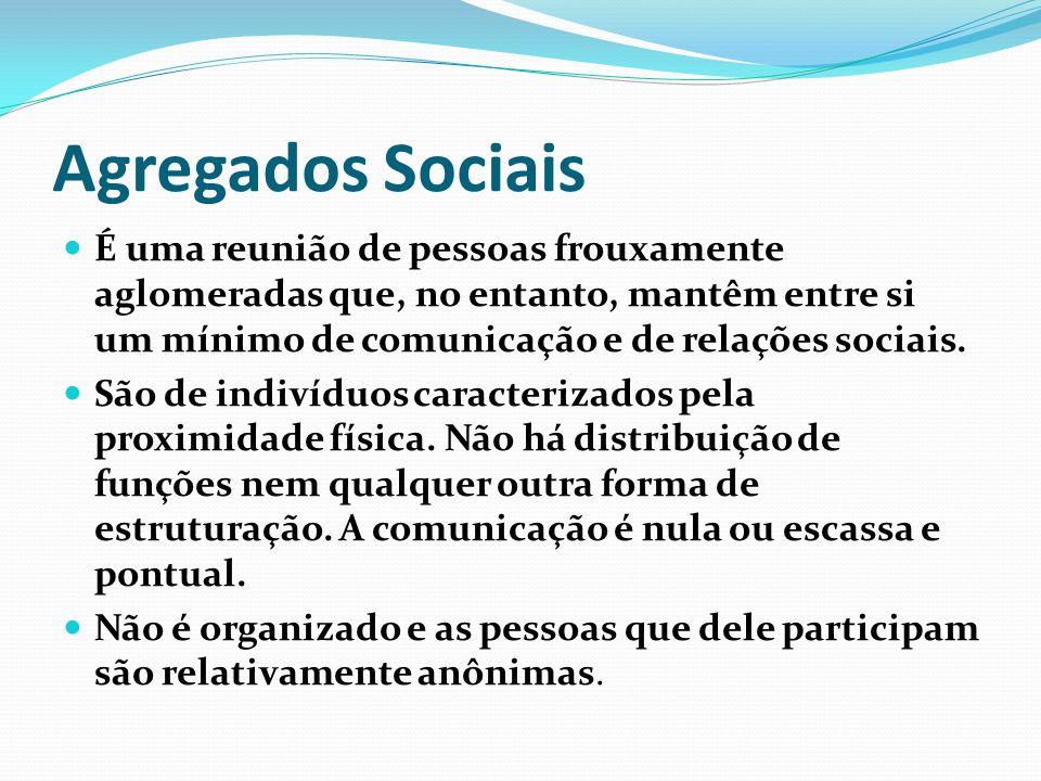Agregados Sociais É uma reunião de pessoas frouxamente aglomeradas que, no entanto, mantêm entre si um mínimo de comunicação e de relações sociais. Sã