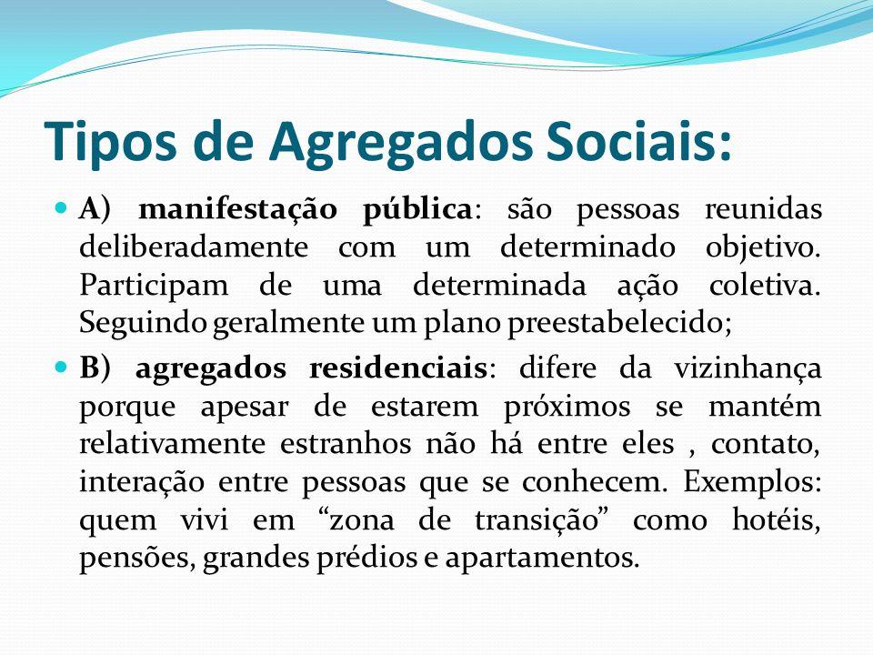 Tipos de Agregados Sociais: A) manifestação pública: são pessoas reunidas deliberadamente com um determinado objetivo. Participam de uma determinada a