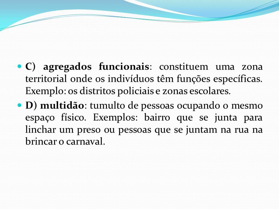 C) agregados funcionais: constituem uma zona territorial onde os indivíduos têm funções específicas. Exemplo: os distritos policiais e zonas escolares