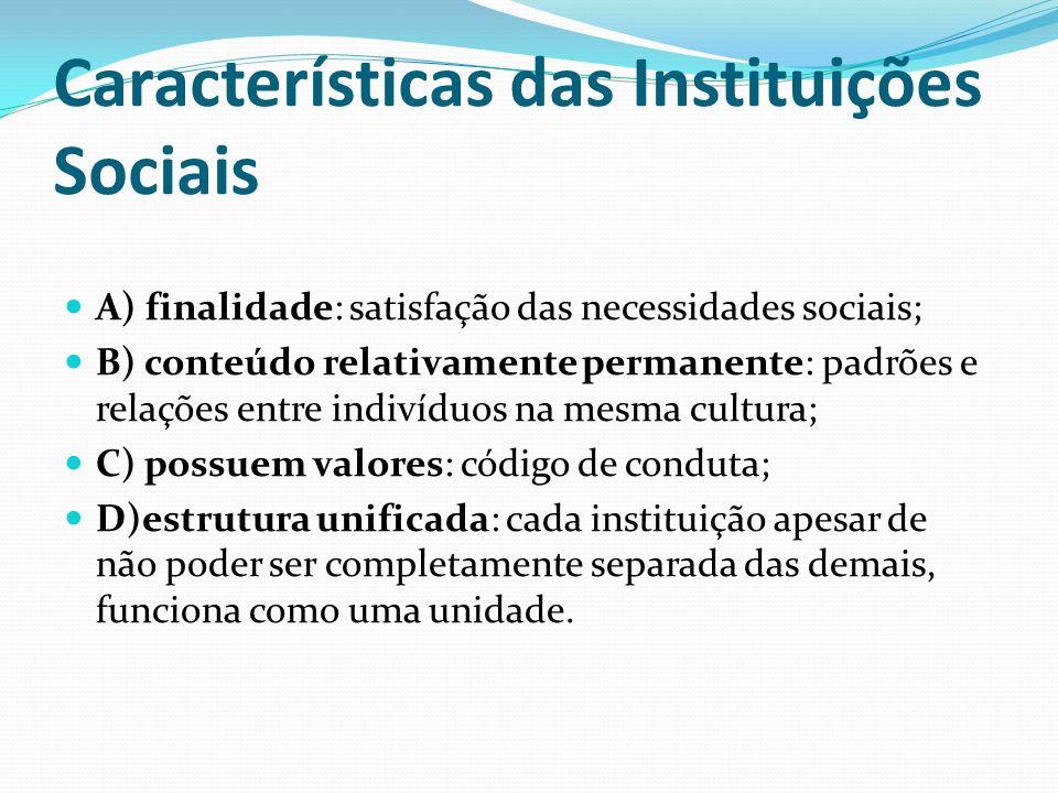Características das Instituições Sociais A) finalidade: satisfação das necessidades sociais; B) conteúdo relativamente permanente: padrões e relações