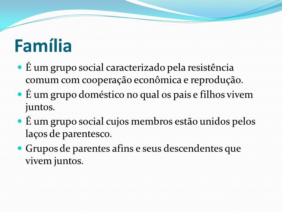 Família É um grupo social caracterizado pela resistência comum com cooperação econômica e reprodução. É um grupo doméstico no qual os pais e filhos vi