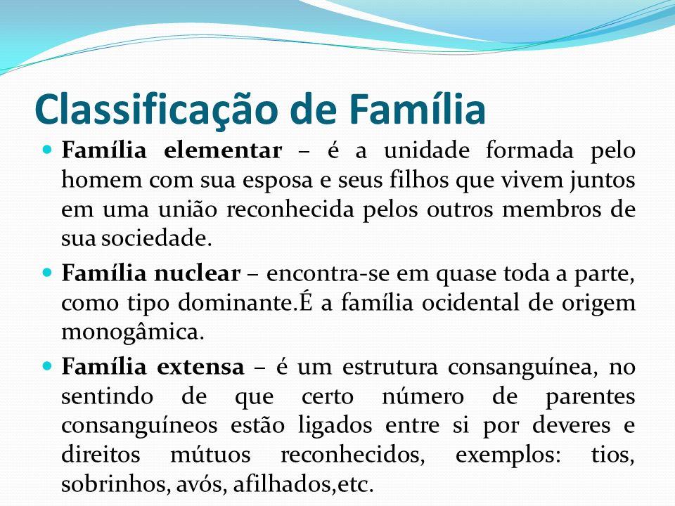 Classificação de Família Família elementar – é a unidade formada pelo homem com sua esposa e seus filhos que vivem juntos em uma união reconhecida pel