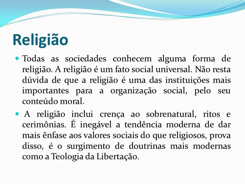 Religião Todas as sociedades conhecem alguma forma de religião. A religião é um fato social universal. Não resta dúvida de que a religião é uma das in