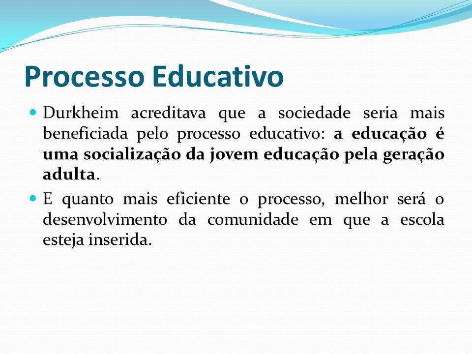Processo Educativo Durkheim acreditava que a sociedade seria mais beneficiada pelo processo educativo: a educação é uma socialização da jovem educação