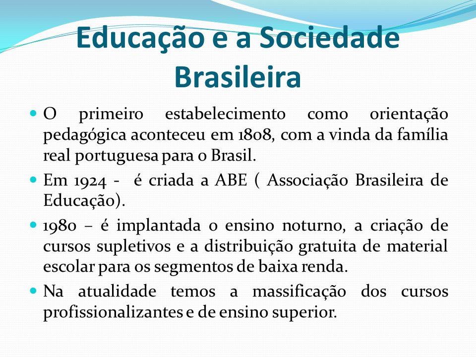 Educação e a Sociedade Brasileira O primeiro estabelecimento como orientação pedagógica aconteceu em 1808, com a vinda da família real portuguesa para