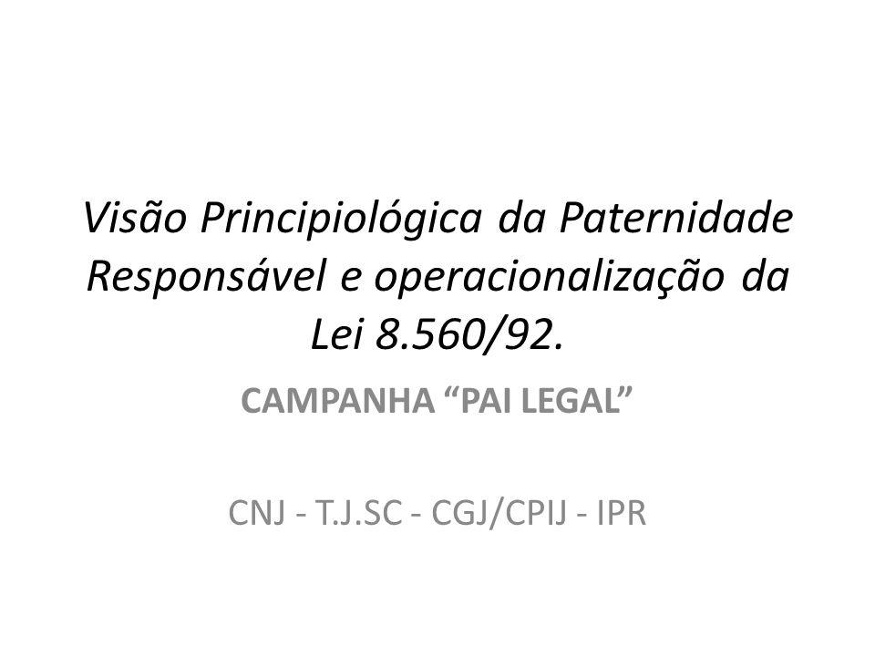 Visão Principiológica da Paternidade Responsável e operacionalização da Lei 8.560/92. CAMPANHA PAI LEGAL CNJ - T.J.SC - CGJ/CPIJ - IPR