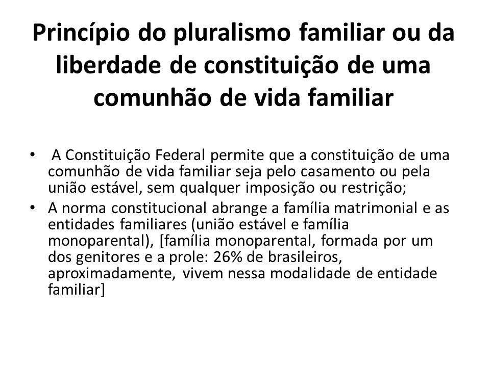 Princípio do pluralismo familiar ou da liberdade de constituição de uma comunhão de vida familiar A Constituição Federal permite que a constituição de