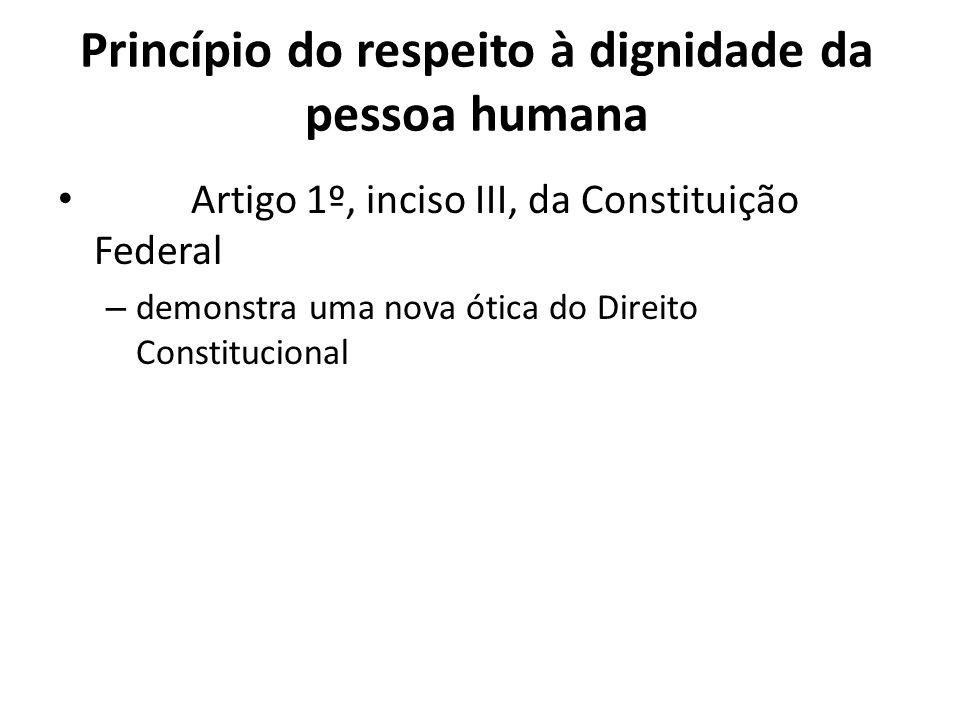 Princípio do respeito à dignidade da pessoa humana Artigo 1º, inciso III, da Constituição Federal – demonstra uma nova ótica do Direito Constitucional