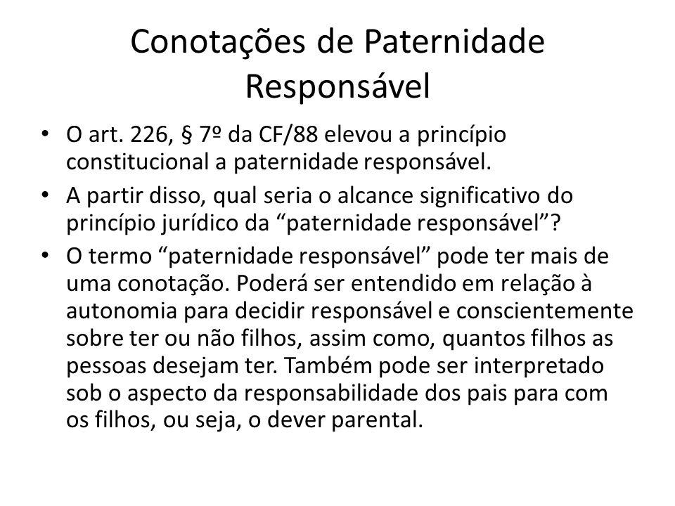 Conotações de Paternidade Responsável O art. 226, § 7º da CF/88 elevou a princípio constitucional a paternidade responsável. A partir disso, qual seri