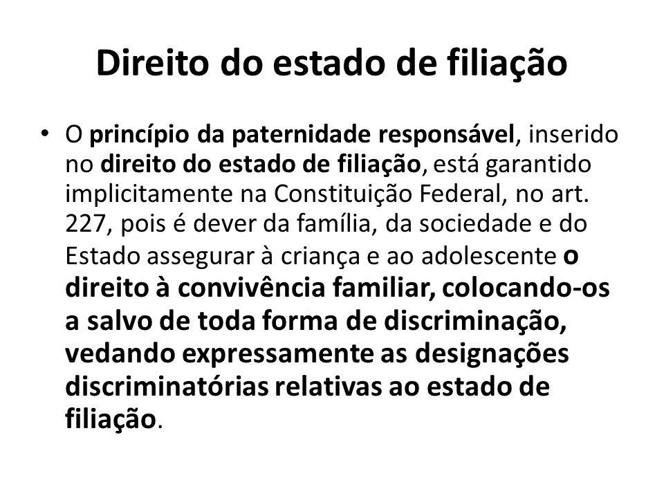 Direito do estado de filiação O princípio da paternidade responsável, inserido no direito do estado de filiação, está garantido implicitamente na Cons