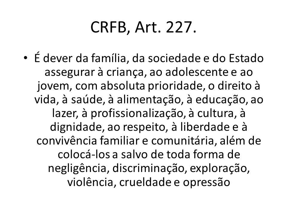 CRFB, Art. 227. É dever da família, da sociedade e do Estado assegurar à criança, ao adolescente e ao jovem, com absoluta prioridade, o direito à vida