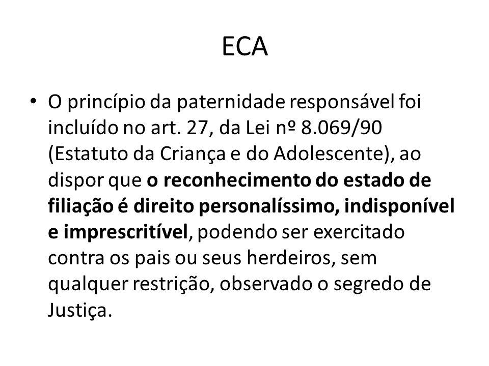 ECA O princípio da paternidade responsável foi incluído no art. 27, da Lei nº 8.069/90 (Estatuto da Criança e do Adolescente), ao dispor que o reconhe