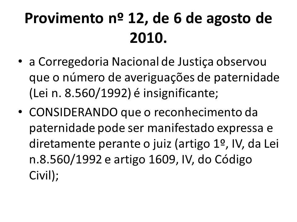 Provimento nº 12, de 6 de agosto de 2010. a Corregedoria Nacional de Justiça observou que o número de averiguações de paternidade (Lei n. 8.560/1992)