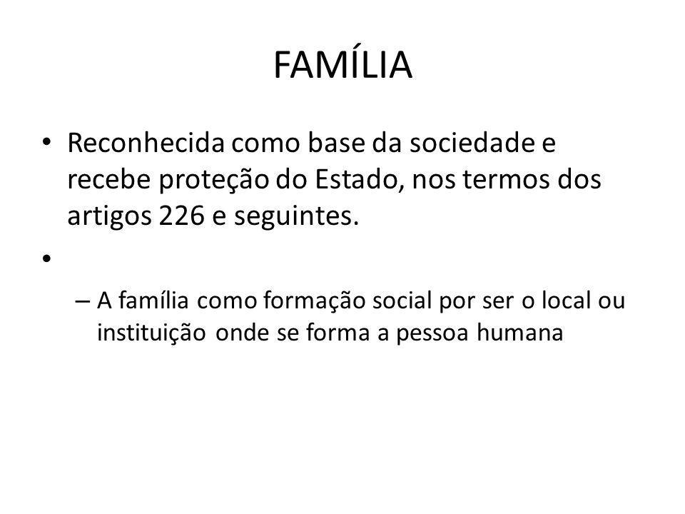 FAMÍLIA Reconhecida como base da sociedade e recebe proteção do Estado, nos termos dos artigos 226 e seguintes. – A família como formação social por s