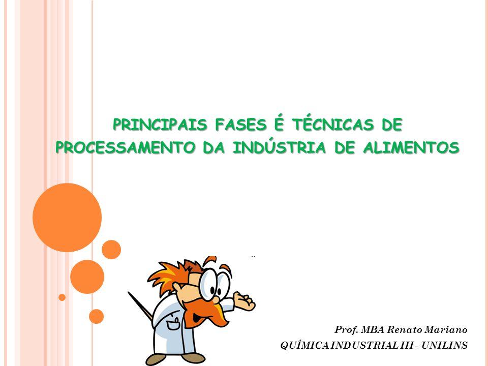 PRINCIPAIS FASES É TÉCNICAS DE PROCESSAMENTO DA INDÚSTRIA DE ALIMENTOS Prof. MBA Renato Mariano QUÍMICA INDUSTRIAL III - UNILINS