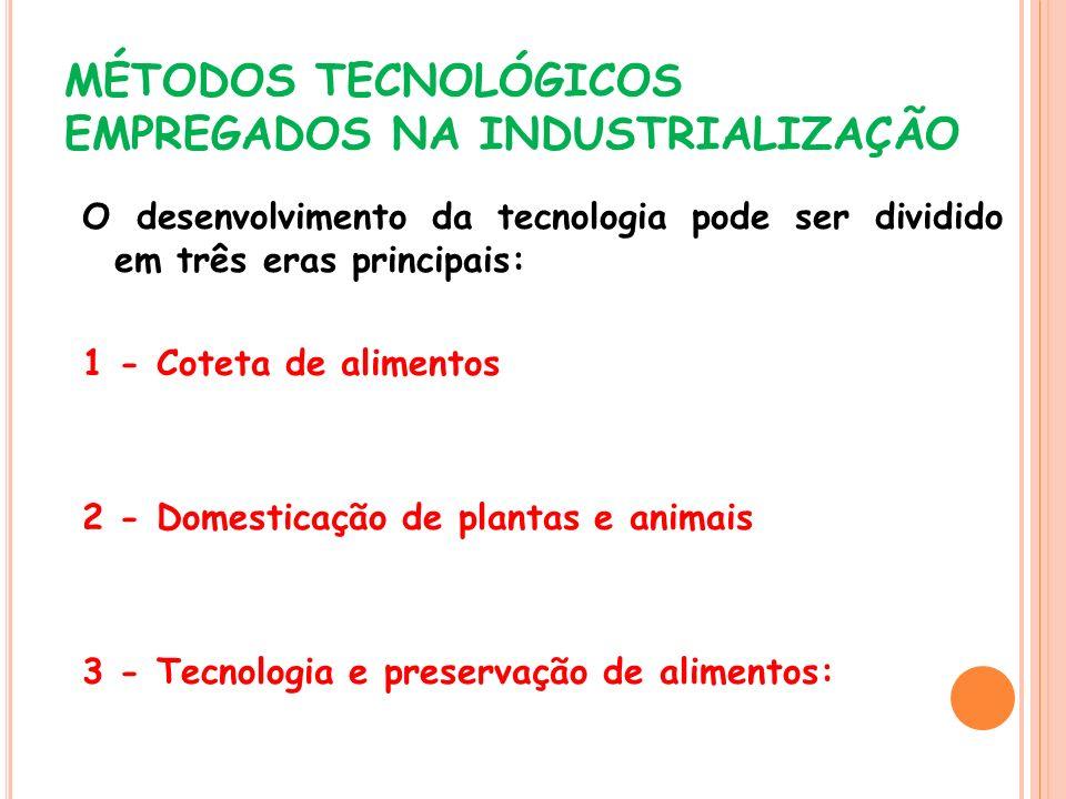 MÉTODOS TECNOLÓGICOS EMPREGADOS NA INDUSTRIALIZAÇÃO O desenvolvimento da tecnologia pode ser dividido em três eras principais: 1 - Coteta de alimentos