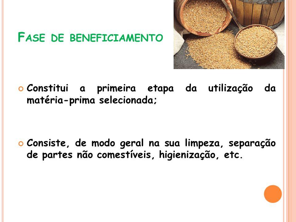 F ASE DE BENEFICIAMENTO Constitui a primeira etapa da utilização da matéria-prima selecionada; Consiste, de modo geral na sua limpeza, separação de pa