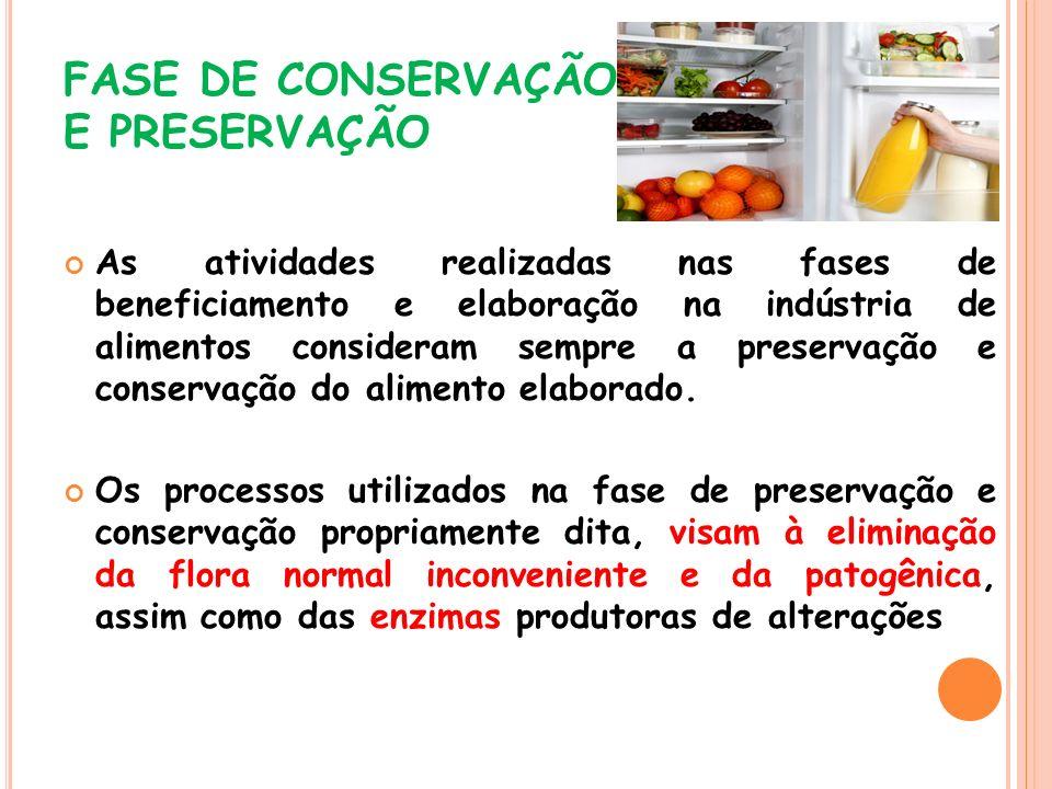 FASE DE CONSERVAÇÃO E PRESERVAÇÃO As atividades realizadas nas fases de beneficiamento e elaboração na indústria de alimentos consideram sempre a pres