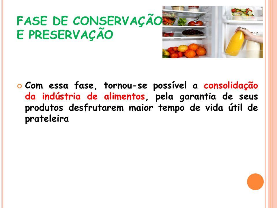 FASE DE CONSERVAÇÃO E PRESERVAÇÃO Com essa fase, tornou-se possível a consolidação da indústria de alimentos, pela garantia de seus produtos desfrutar