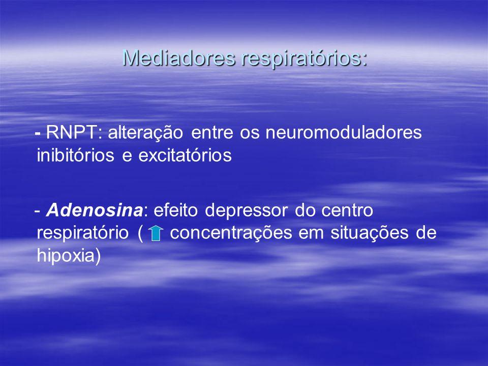 Mediadores respiratórios: - RNPT: alteração entre os neuromoduladores inibitórios e excitatórios - Adenosina: efeito depressor do centro respiratório