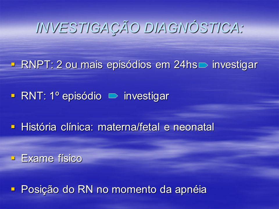 INVESTIGAÇÃO DIAGNÓSTICA: RNPT: 2 ou mais episódios em 24hs investigar RNPT: 2 ou mais episódios em 24hs investigar RNT: 1º episódio investigar RNT: 1