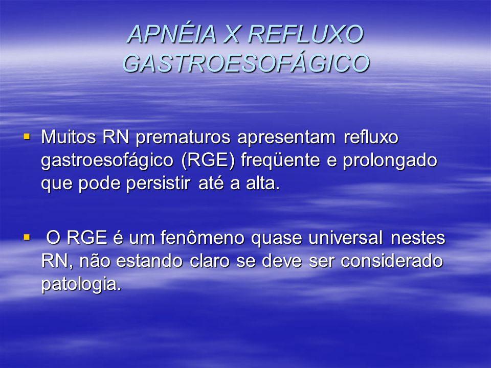 APNÉIA X REFLUXO GASTROESOFÁGICO Muitos RN prematuros apresentam refluxo gastroesofágico (RGE) freqüente e prolongado que pode persistir até a alta. M