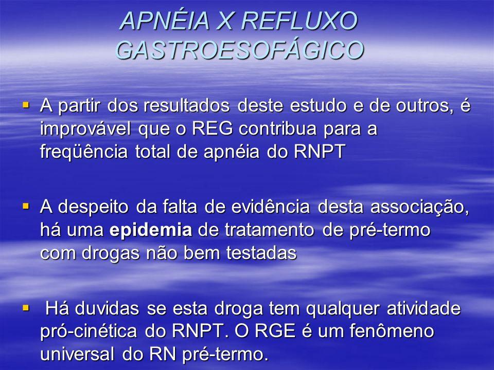 APNÉIA X REFLUXO GASTROESOFÁGICO A partir dos resultados deste estudo e de outros, é improvável que o REG contribua para a freqüência total de apnéia