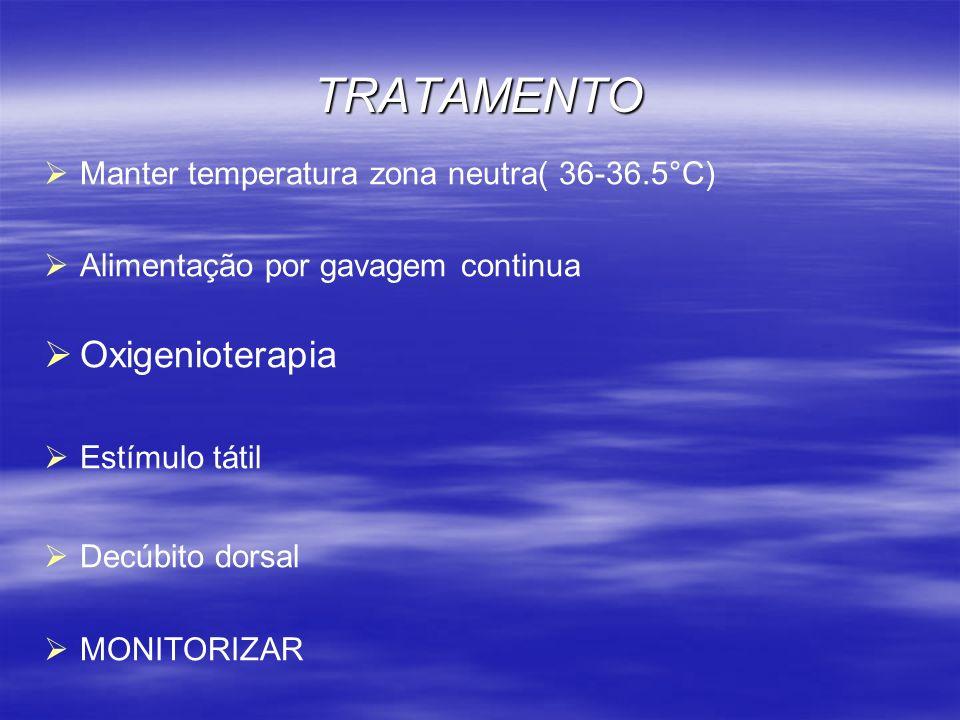 TRATAMENTO Manter temperatura zona neutra( 36-36.5°C) Alimentação por gavagem continua Oxigenioterapia Estímulo tátil Decúbito dorsal MONITORIZAR